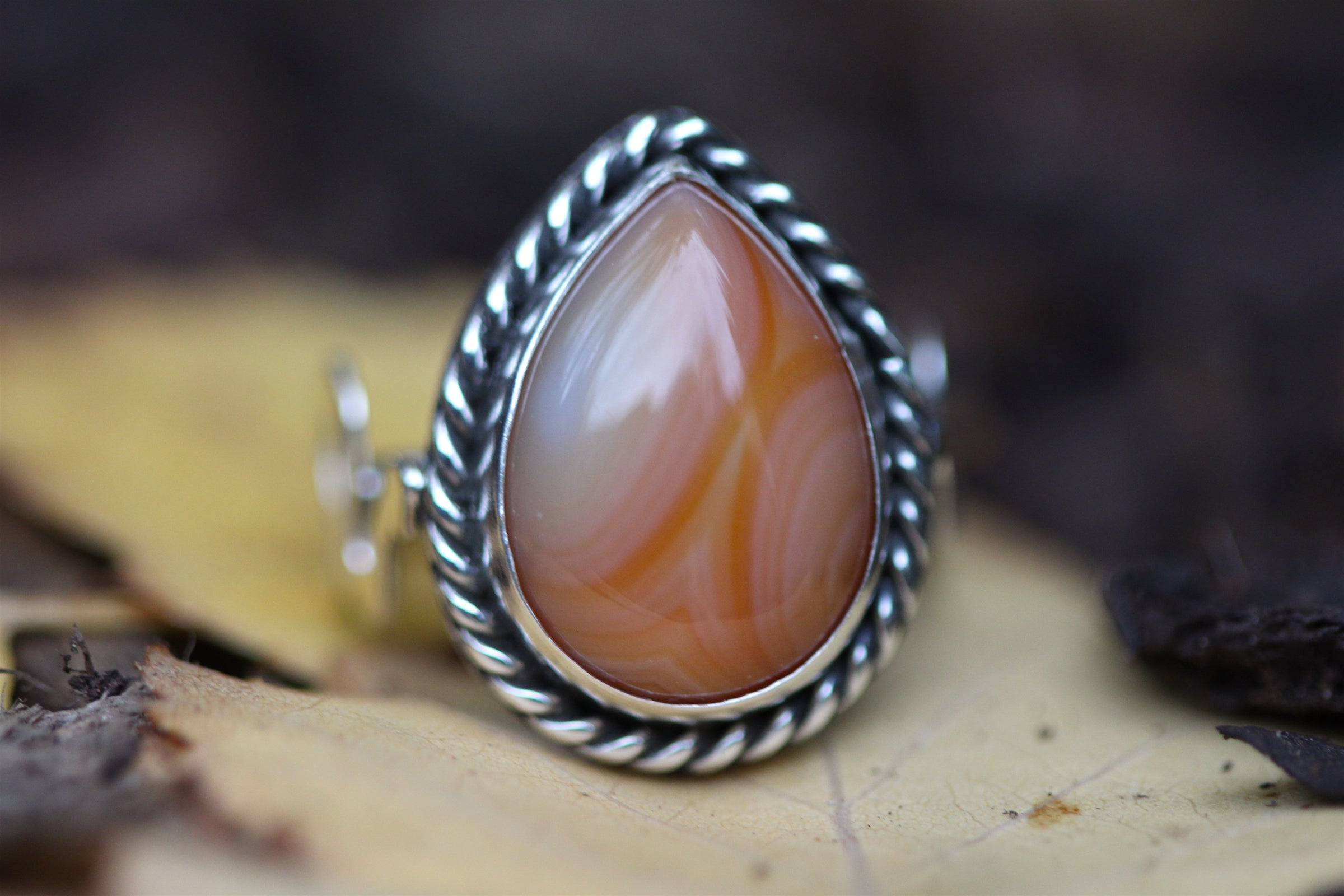 SERPENTS FIRE Handmade Sterling Silver Serpent Ring with Carnelian - Size N/6.5