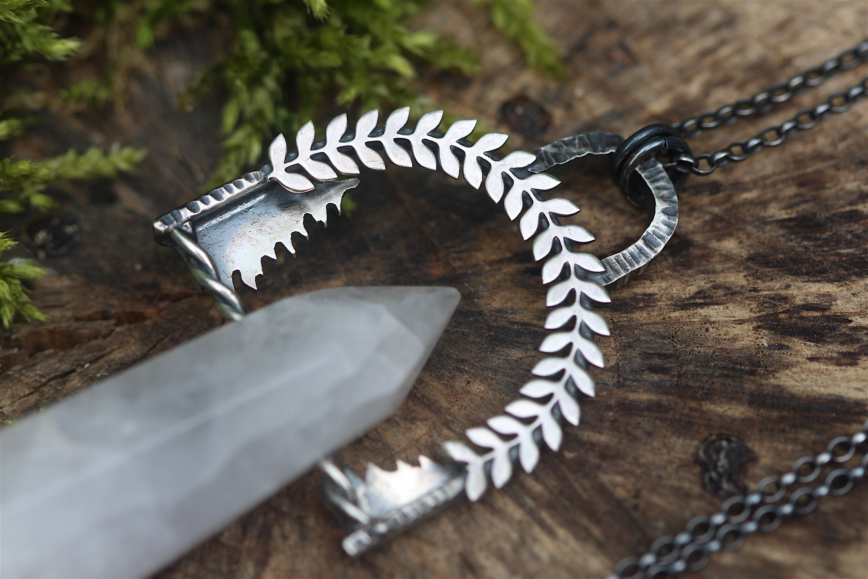 EARTH HELD Necklace with Quartz Crystal Point