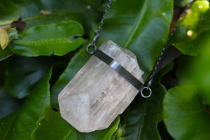 SPIRITUS Rare Pink Danburite Necklace with Pyrite & Rainbow Inclusions