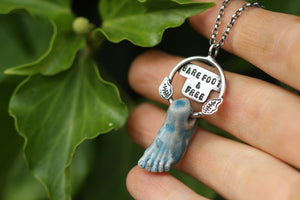 BAREFOOT & FREE Ceramic & Sterling Silver Necklace