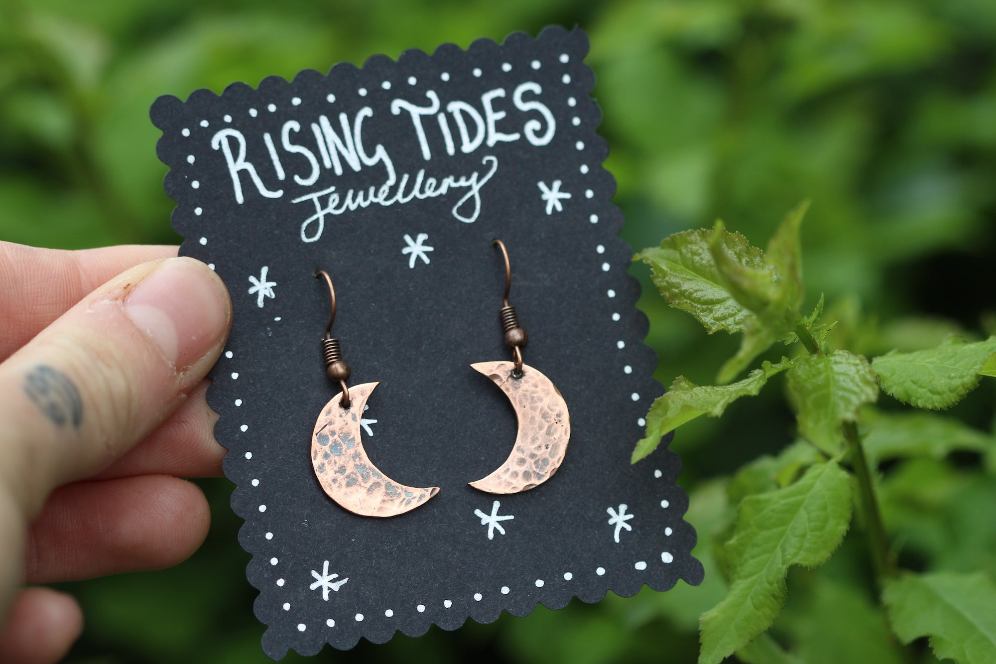 MOONDANCE Handmade Copper Moon Earrings