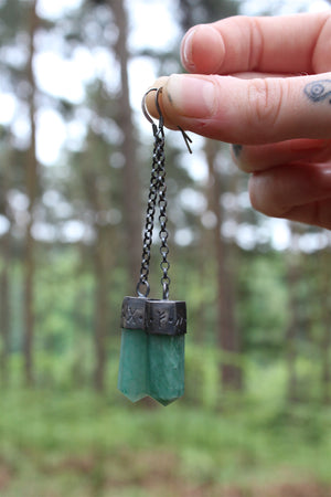 Sterling Silver FOREST CRONE Earrings with Aventurine