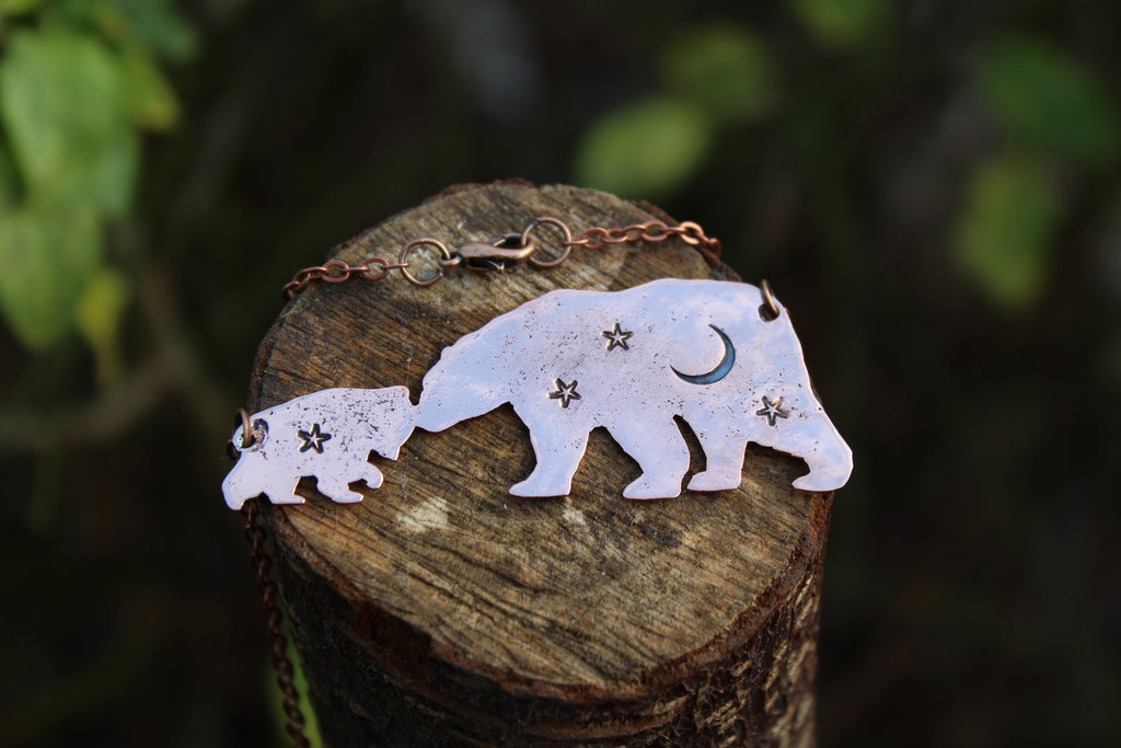 BEAR CUB Handmade Copper Necklace