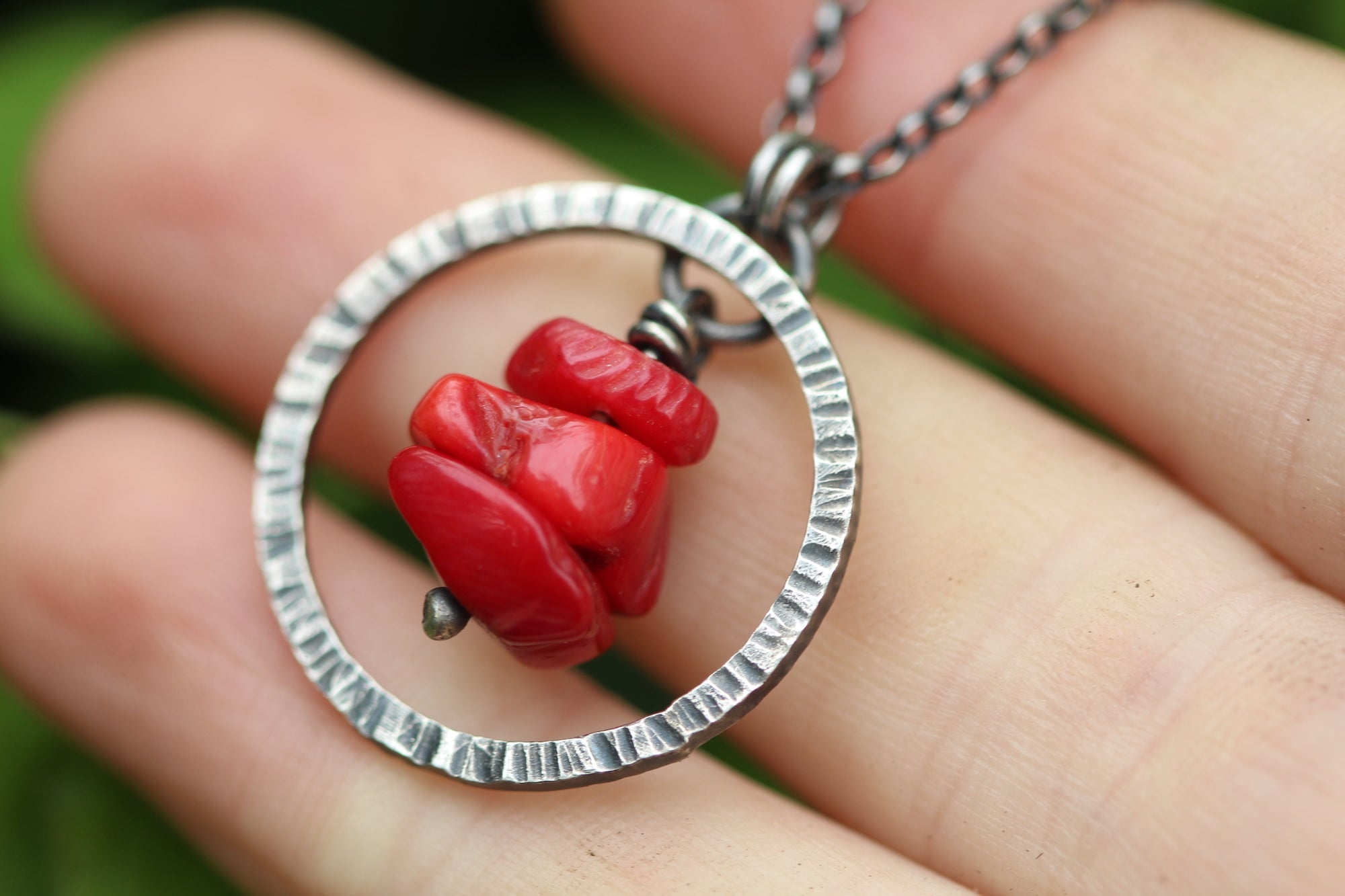 SACRED FLOW Sterling Silver & Red Coral Necklace