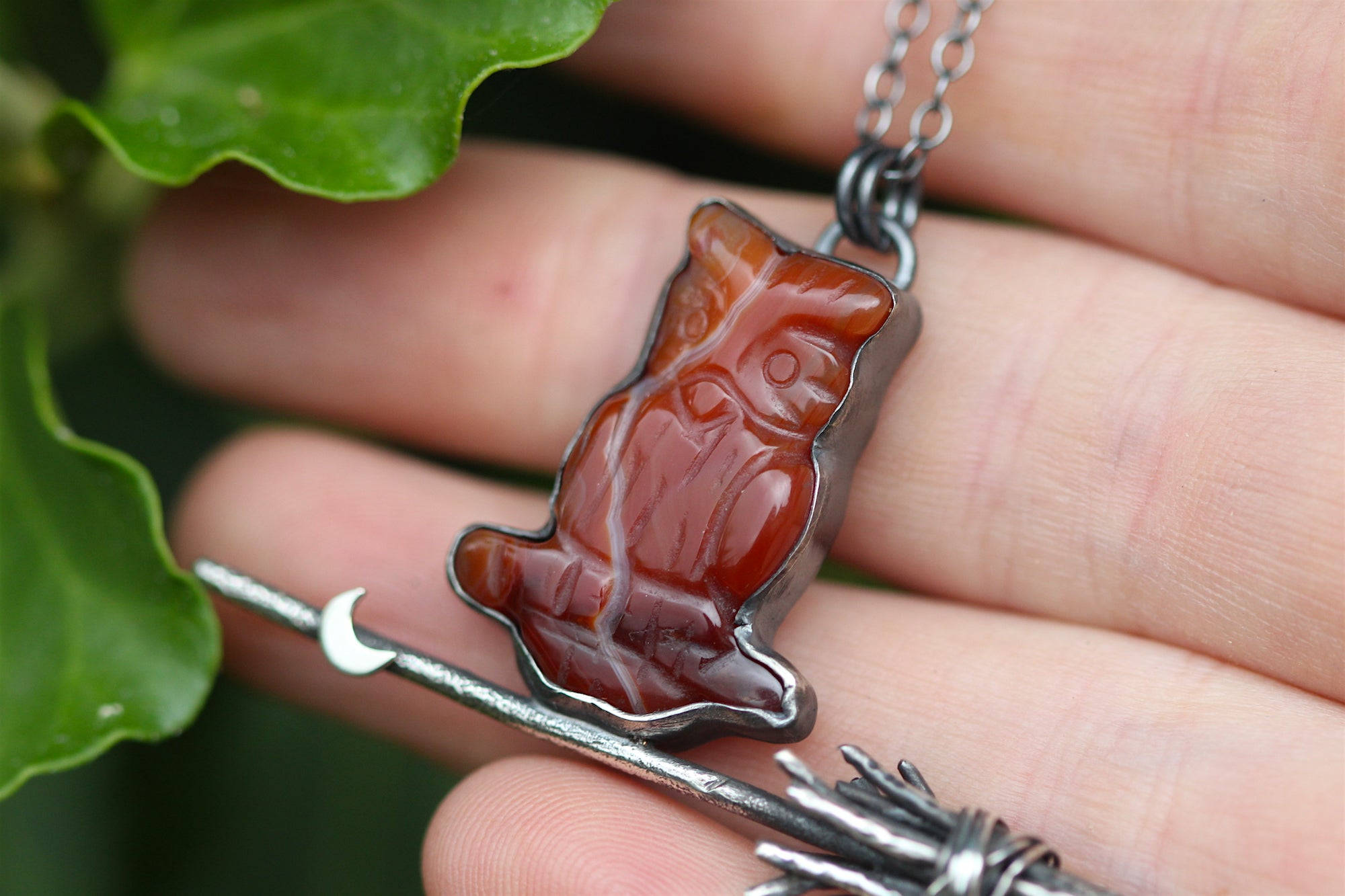 THE FAMILIAR Carnelian Owl & Sterling Silver Broomstick Necklace
