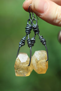 Sterling Silver BOUND Earrings with Citrine