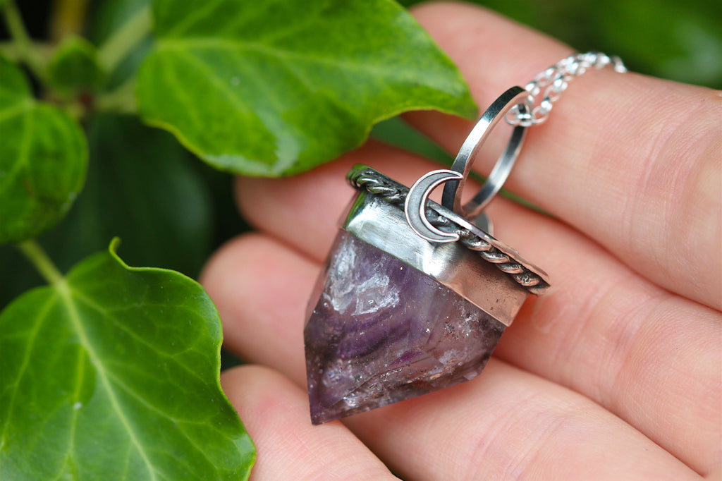 MOONLIGHT MIST Phantom Brandberg Amethyst & Sterling Silver Necklace