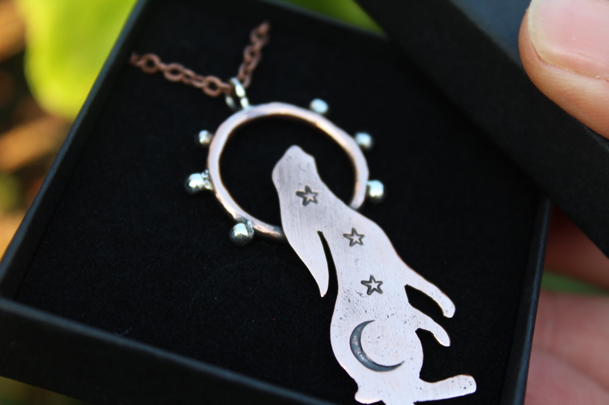 STARRY LUNAR HARE Handmade Copper & Sterling Silver Necklace