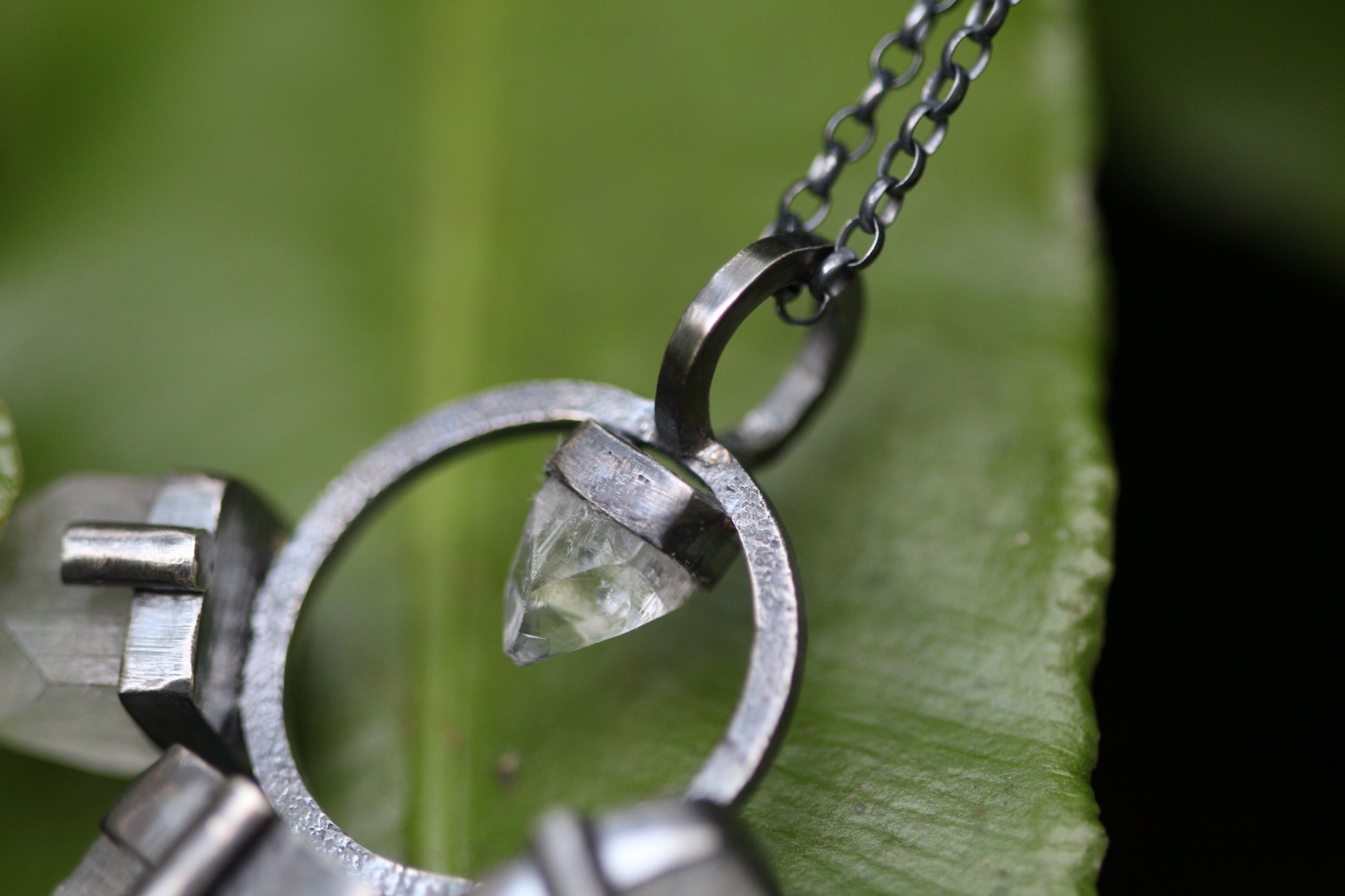 Sterling Silver WOLF MOTHER Necklace with Clear Apophyllite