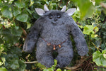 Charcoal Troll - Handmade Plush Comfort Creature with Handcarved Wooden Charms