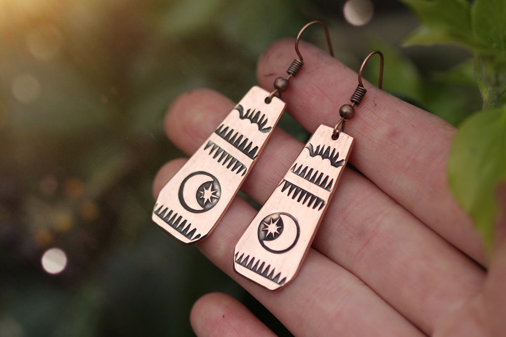 WILD ABANDON Handmade Stamped Copper Earrings