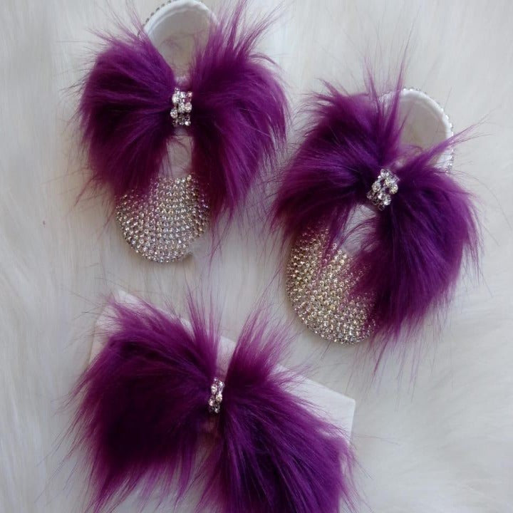 Handmade Cute Bling Baby Fur Shoes and Headband