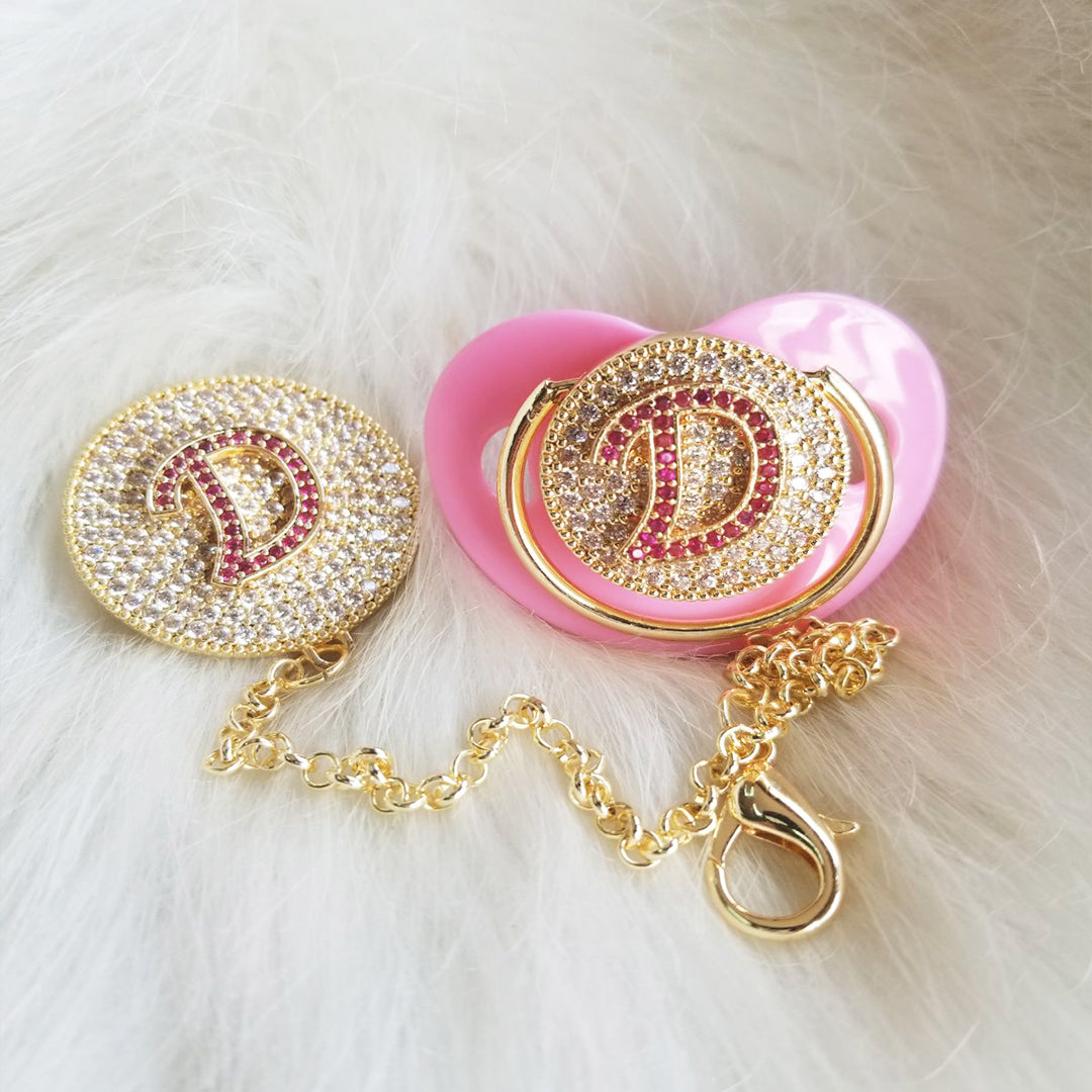 Custom Pacifier With Rhinestone Custom Clip and Custom Chain