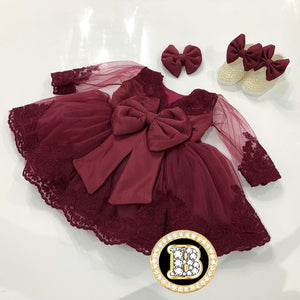 Beautiful Baby Girl Long Sleeve Birthday Dress with Bow