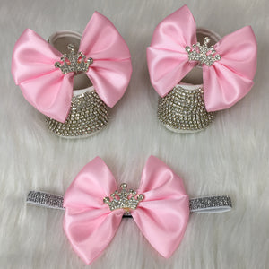 Handmade Baby Girl Crown Charm Crystal Shoes