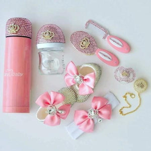 Crystals Bling Baby Pacifier & Clip + Shoes + Bottle + Thermo Bottle + Hair Brush Set - Bling Bling Babies