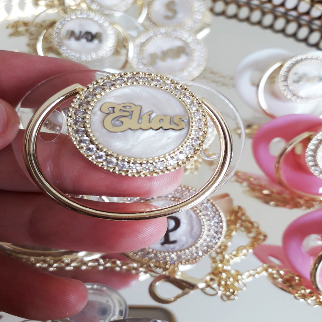 Personalized Custom Pacifiers with Rhinestone - Customized Luxury Pacifiers with Baby Name