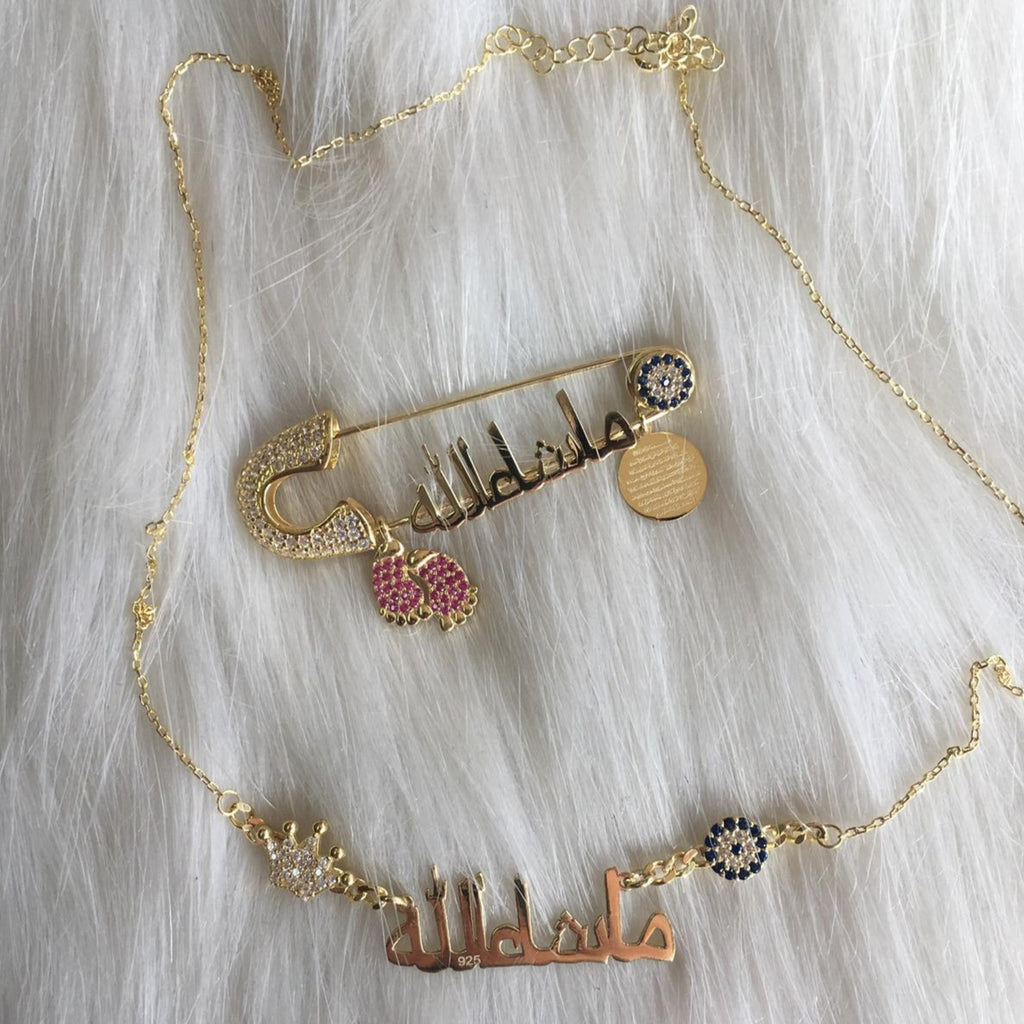 Gold and Silver Plated Personalized Baby Name Necklace - Bling Bling Babies