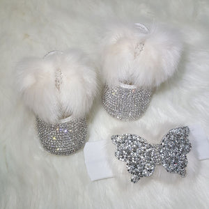 Handmade 2 piece Crystals Cute Bling Baby Fur Shoes and Headband - Bling Bling Babies