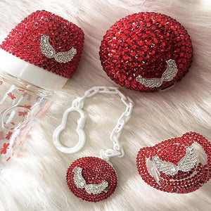 Handmade Rhinestone Crystals Bling Baby 4 pieces Pacifier & Clip + Pacifier Box + Bottle Set - Bling Bling Babies