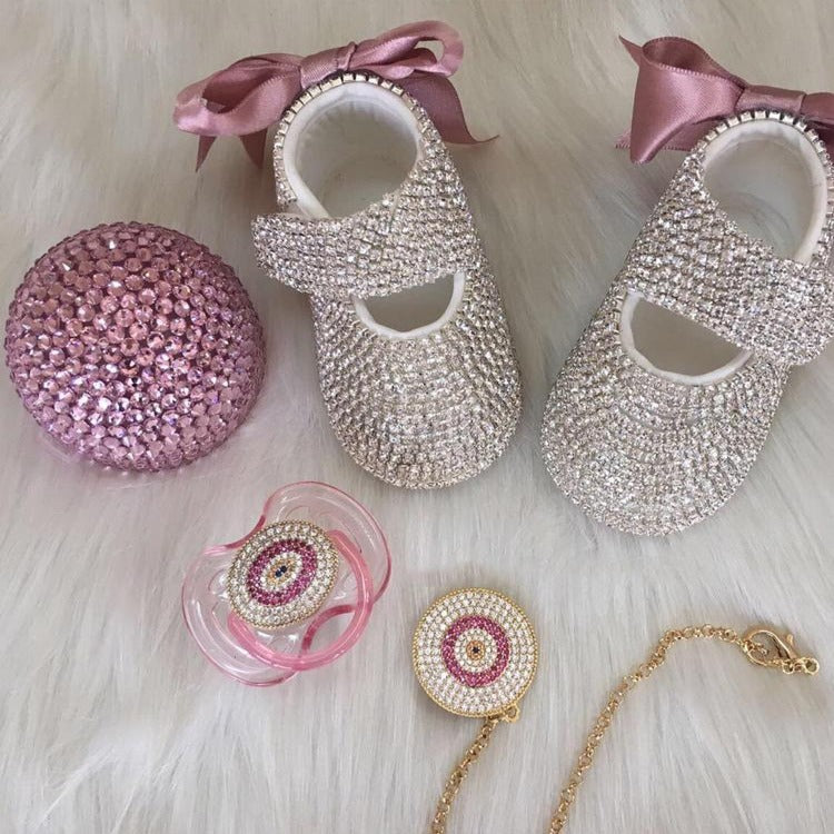 Handmade Rhinestone Crystals Bling Baby 4 pieces Pacifier & Clip + Pacifier Box + Shoe & HeadbandSet - Bling Bling Babies
