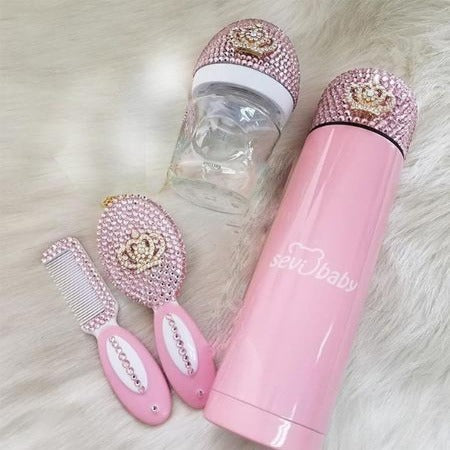 Handmade Rhinestone Crystals Bling Baby Bottle + Thermo Bottle + Hair Brush Set - Bling Bling Babies