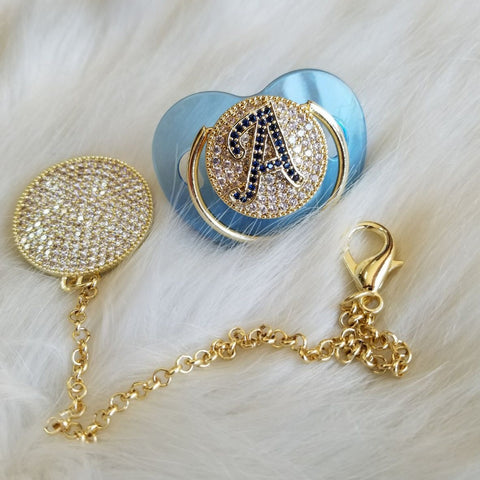 Baby Initial Glam Blue Pacifier Bling pacifier and pacifier clip Baby Boy Gift