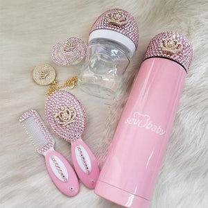 Handmade Rhinestone Crystals Bling Baby Pacifier & Clip + Bottle + Thermo Bottle + Hair Brush Set - Bling Bling Babies
