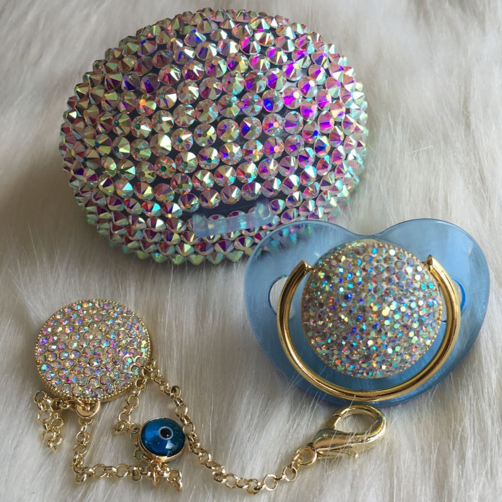 Handmade Rhinestone Crystals Bling Baby Pacifier & Clip + Pacifier Box - Bling Bling Babies