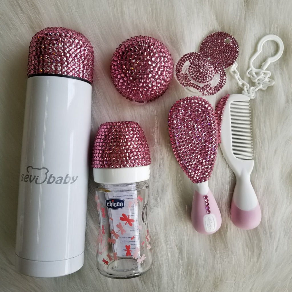 Handmade Rhinestone Crystals Bling Baby Pacifier & Clip + Pacifier Box + Bottle + Thermo Bottle + Hair Brush Set - Bling Bling Babies