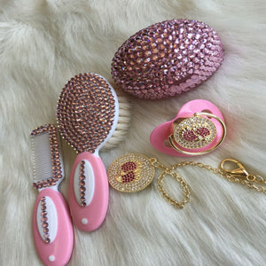 Handmade Rhinestone Crystals Bling Baby Pacifier & Clip + Pacifier Box + Hair Brush Set - Bling Bling Babies