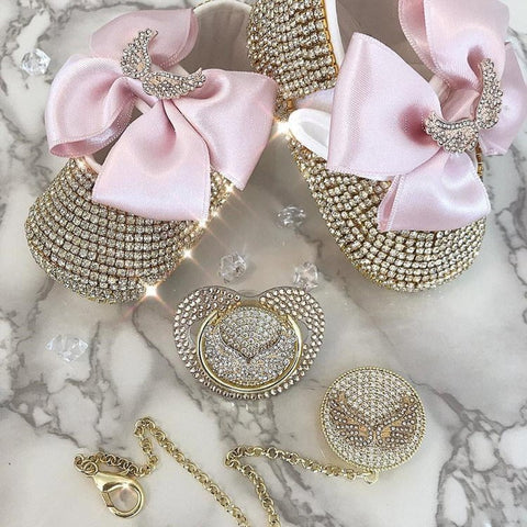 Handmade Rhinestone Crystals Bling Baby Pacifier & Clip + Shoe & Headband Set - Bling Bling Babies