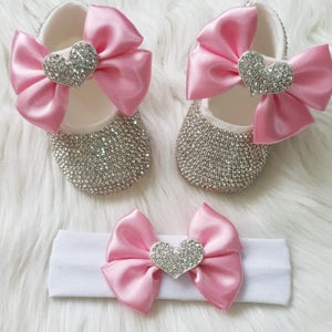 Personalized Baby Girl Heart Charm Crystal Shoes