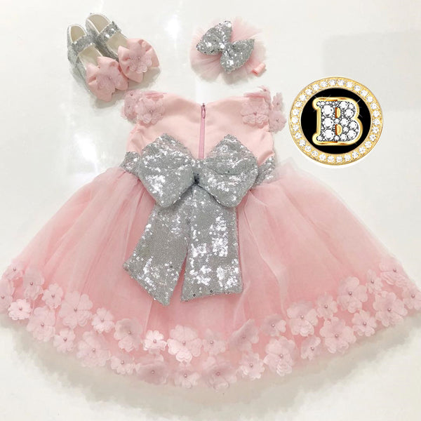 Flower Pink Girl Dress with Silver Bow Baby Shower Dress