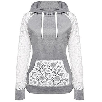 Lace Light Grey Hoodie