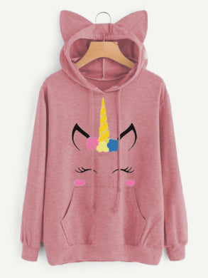 Unicorn Cat Ear Hooded Pullover