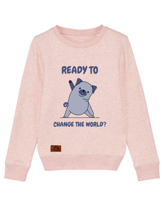 "Kinder Sweatshirt ""ready to change the world?"""