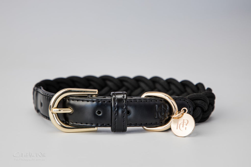 Dog Collar Black Plaited - Yellow Gold or Rose Gold