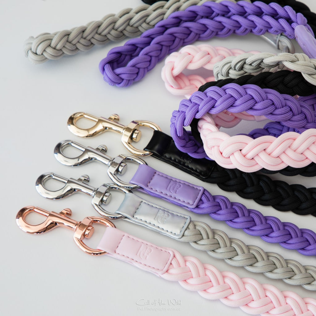 Dog Lead Black - Yellow or Rose Gold Hardware