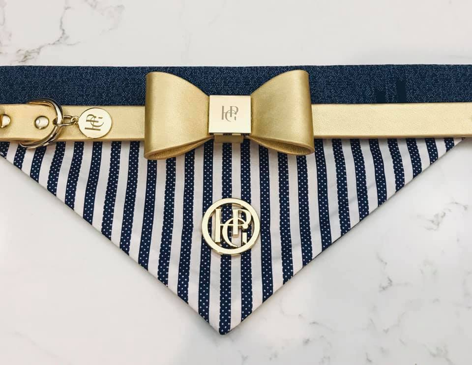 Leather Bow Collar - Champagne