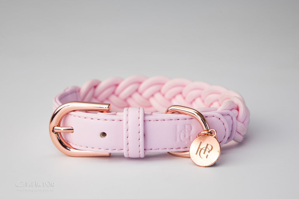 Dog Collar Pink Plaited
