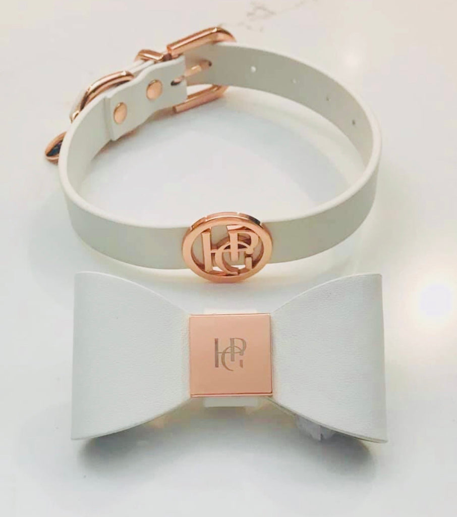 Leather Bow Collar - Snow Drop/ Rose Gold