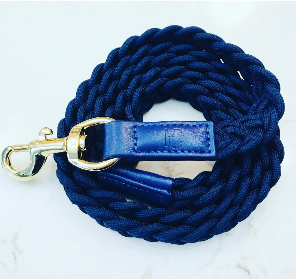 Dog Lead Indigo Blue Plaited