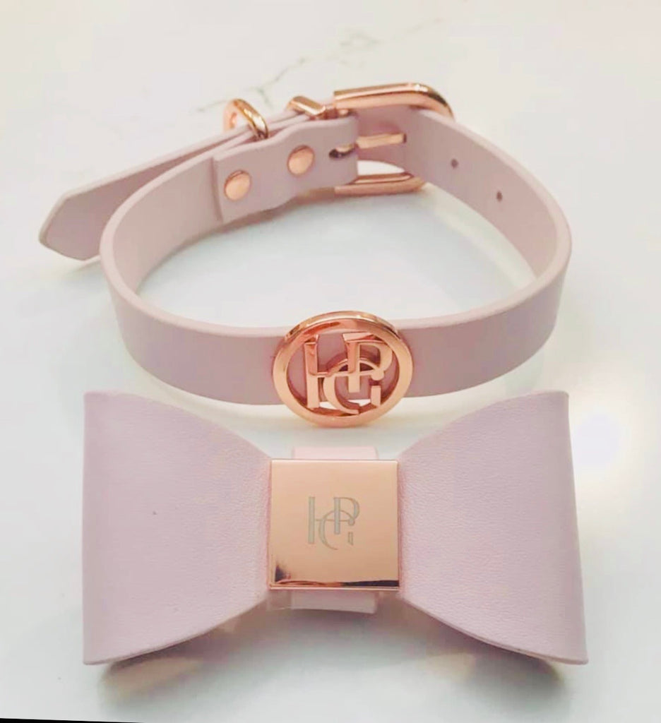 Leather Bow Collar - Blush