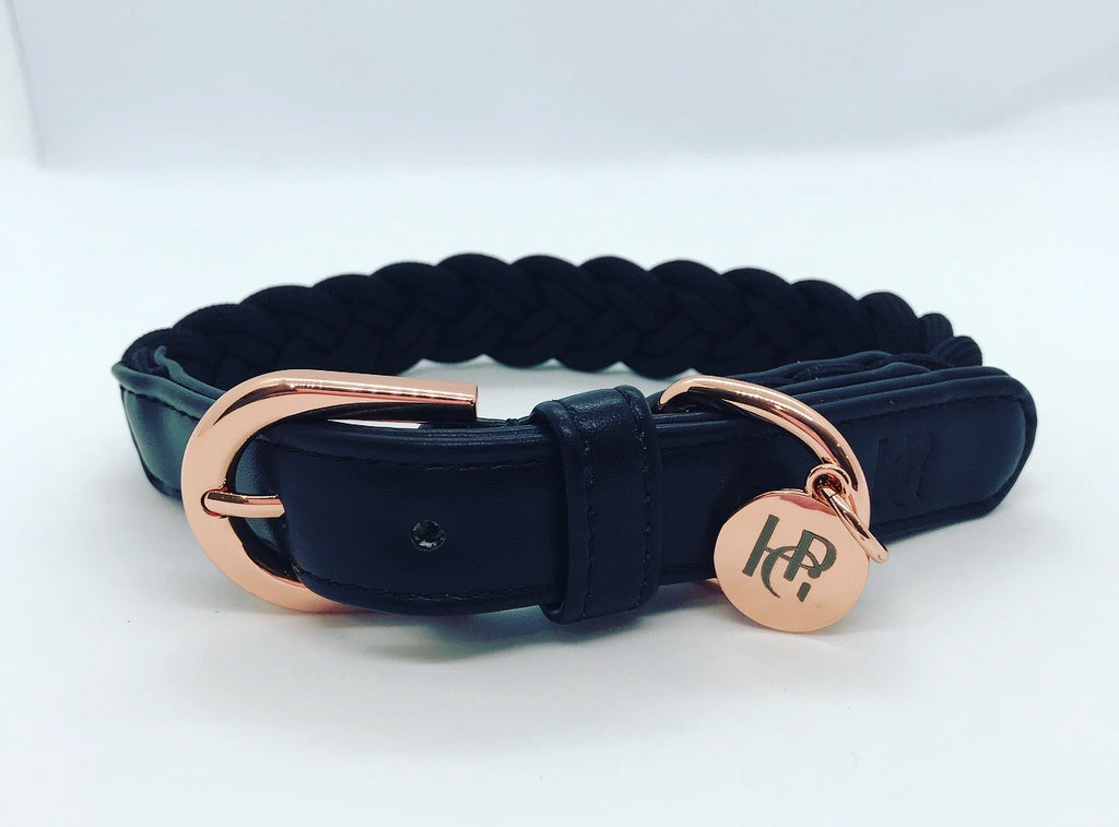 Dog Collar Black Plaited - Rose Gold