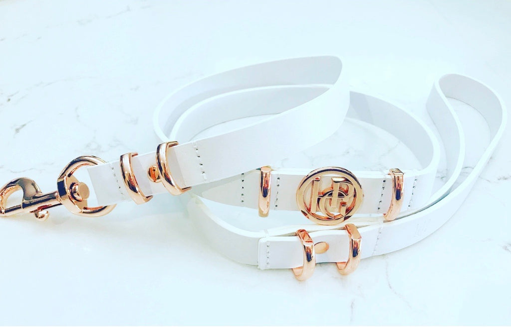 Leather Dog Lead - Snow Drop/Rose Gold