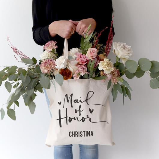 Personalised Maid Of Honour Tote Bag - littleweddingstore.co.nz