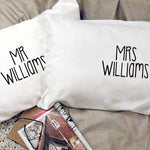Personalized Mr and Mrs Wedding Pillowcases - littleweddingstore.co.nz