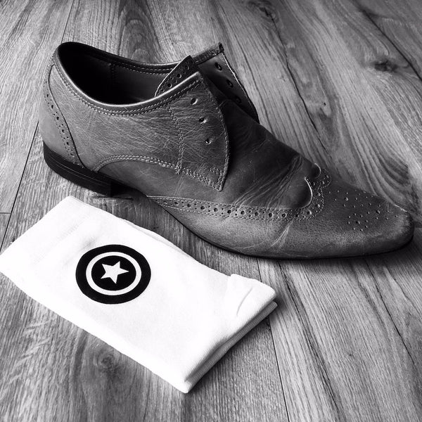 Superhero Socks White and Black Groom Socks Bestman Groomsmen