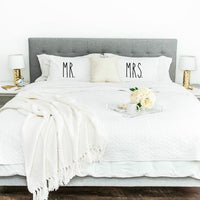 Mr and Mrs Pillowcase Set - littleweddingstore.co.nz